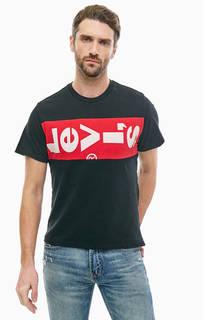 Хлопковая футболка с логотипом бренда Levis