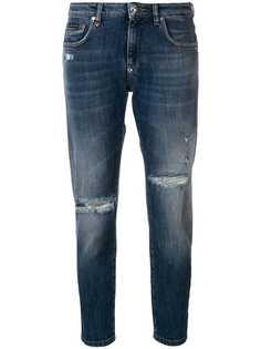 Philipp Plein укороченные джинсы с эффектом потертости