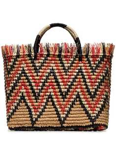 Sensi Studio соломенная сумка-тоут Castana в полоску