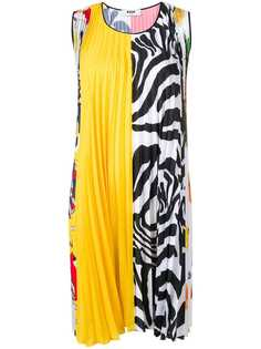 MSGM плиссированное платье мини прямого кроя