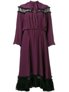 Rochas расклешенное платье миди с длинными рукавами
