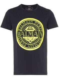 Balmain футболка с логотипом-монетой