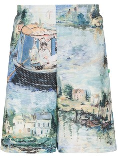 Off-White riverside print knee length shorts