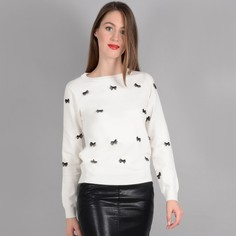 Пуловер из тонкого трикотажа с круглым вырезом и бантами Molly Bracken