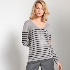 Пуловер в полоску в морском стиле с V-образным вырезом Anne Weyburn