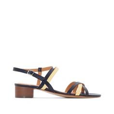 Босоножки кожаные двухцветные на среднем каблуке Anne Weyburn