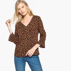 Блузка с v-образным вырезом с леопардовым принтом и рукавами 3/4 Vila