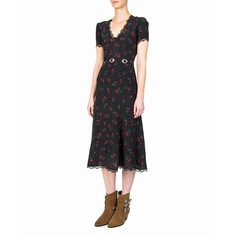 6fee78558c7 Платье с короткими рукавами из шелка с принтом и поясом The Kooples