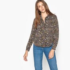 Блузка с v-образным вырезом, цветочным принтом и длинными рукавами SEE U Soon