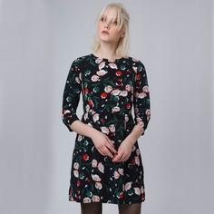 Платье укороченнное с рукавами 3/4 и цветочным рисунком Compania Fantastica