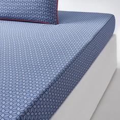 Простыня натяжная из хлопкового сатина синего цвета, KEITAKI La Redoute Interieurs
