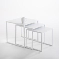 Комплект из 3 журнальных столиков Hiba, вдвигающихся один в другой, из стали La Redoute Interieurs