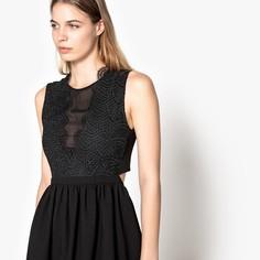 Платье расклешенное без рукавов и с кружевными вставками Suncoo