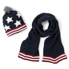 Комплект из шапки и шарфа синего и белого цветов La Redoute Collections