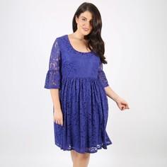 Платье прямое однотонное средней длины, с рукавами 3/4 Lovedrobe