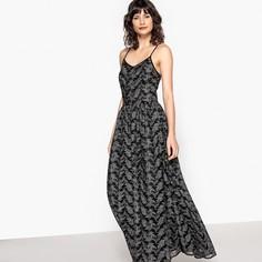 Платье длинное с серебристым рисунком, присборенное на поясе Mademoiselle R