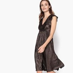 Платье блестящее средней длины с глубоким вырезом спереди La Redoute Collections