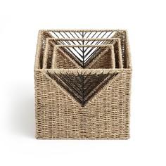 Комплект из 3 квадратных плетеных корзин, TRESSIE La Redoute Interieurs