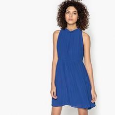 Платье короткое плиссированное однотонное, без рукавов SEE U Soon