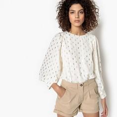 Блузка с круглым вырезом, графическим рисунком и длинными рукавами SEE U Soon