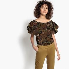 Блузка с этническим рисунком и короткими рукавами SEE U Soon
