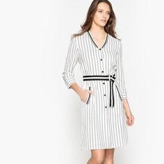 Платье в полоску в стиле бейсбол с застежкой на пуговицы La Redoute Collections