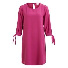 Платье прямое средней длины, однотонное, с короткими рукавами Vila