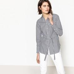 Туника в полоску с длинными рукавами и рубашечным воротником La Redoute Collections