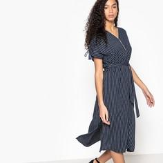 Платье-миди расклешенное в полоску с короткими рукавами Suncoo