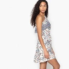 Платье прямое с асимметричным декольте и принтом Suncoo