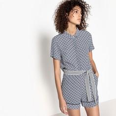 Комбинезон с шортами с короткими рукавами, рисунком и поясом Suncoo
