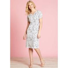 Платье расклешенное с цветочным рисунком, средней длины Yumi