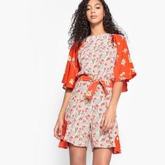 Комбинезон с шортами с разрезом сзади и цветочным рисунком Mademoiselle R