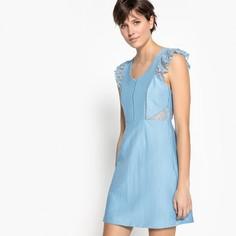 Платье короткое с V-образным вырезом и отделкой кружеовм Suncoo