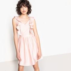 Платье прямое с V-образным вырезом и воланами, без рукавов Suncoo