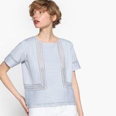 Блузка с кружевом и плиссировкой, хлопок и лён Mademoiselle R