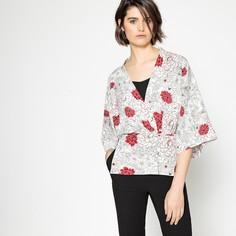 Жакет тонкий в стиле кимоно с поясом и цветочным рисунком La Redoute Collections