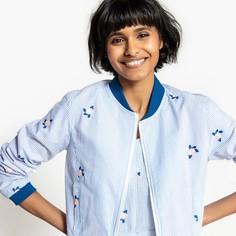 Куртка-бомбер короткая в полоску с вышивкой 100% хлопок Mademoiselle R