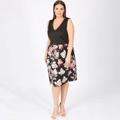 Платье без рукавов с цветочным принтом из двух материалов Lovedrobe