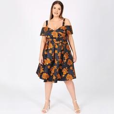 Платье расклешенное с цветочным принтом средней длины Lovedrobe
