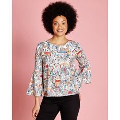 Блузка с круглым вырезом, графическим рисунком и рукавами 3/4 Yumi