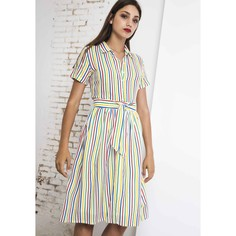 Платье-рубашка в полоску средней длины с короткими рукавами Compania Fantastica