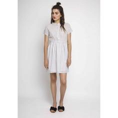 Платье в полоску с короткими рукавами и эластичным поясом Compania Fantastica