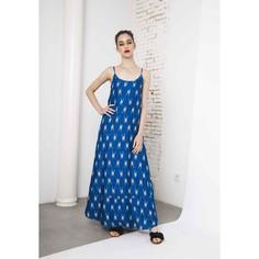Платье длинное с рисунком жираф на тонких бретелях Compania Fantastica