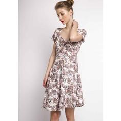 Платье с рисунком пальмы, V-образным вырезом и короткими рукавами Compania Fantastica