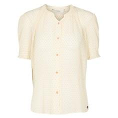 Рубашка прямого покроя с круглым вырезом, рисунком и короткими рукавами Numph