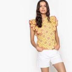 Блузка с круглым вырезом, с воланами и вышивкой, без рукавов Mademoiselle R