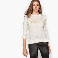 Пуловер с круглым вырезом и воланами PRUNE Suncoo