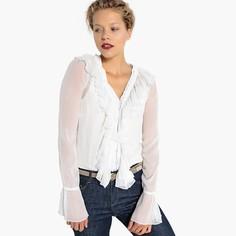 Рубашка объемная со сборками, V-образный вырез с воланами Mademoiselle R