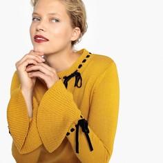 Пуловер с круглым вырезом и бантом из велюра Mademoiselle R